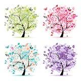 Jogo das árvores florais bonitas para seu projeto Imagem de Stock Royalty Free