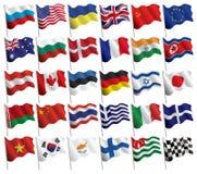 Jogo das bandeiras com ondas e inclinações Fotos de Stock