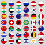 Jogo das bandeiras Parte superior, país famoso Bandeiras sob a forma de um círculo Foto de Stock Royalty Free