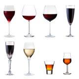 Jogo das bebidas isoladas no branco Foto de Stock Royalty Free