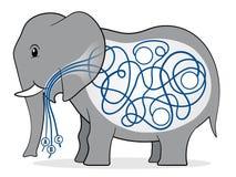 Jogo das crianças do labirinto do elefante Foto de Stock