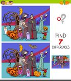 Jogo das diferenças com caráteres de Dia das Bruxas ilustração stock