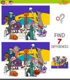 Jogo das diferenças do achado com caráteres de Dia das Bruxas ilustração stock