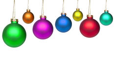Jogo das esferas coloridas do Natal isoladas no branco Imagens de Stock
