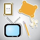 Jogo das etiquetas com objetos diferentes Imagens de Stock Royalty Free