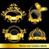Jogo das etiquetas douradas Fotografia de Stock Royalty Free