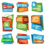 Jogo das etiquetas e das bandeiras Imagens de Stock Royalty Free