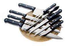 Jogo das facas do cozinheiro chefe isoladas no branco Imagem de Stock Royalty Free