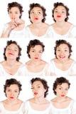Jogo das faces úteis da mulher Fotografia de Stock
