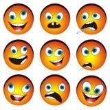 Jogo das faces cartonized do smiley Foto de Stock Royalty Free