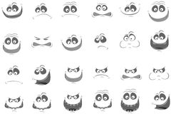 Jogo das faces com vário emo. Ilustração do vetor Imagens de Stock Royalty Free
