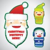 Jogo das faces do Natal em emblemas Fotografia de Stock Royalty Free