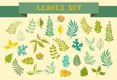 Jogo das folhas Ilustração do vetor Imagem de Stock