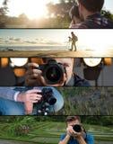 Jogo das fotos Homem caucasiano novo que faz a foto da paisagem no beira-mar, no parque e no estúdio foto de stock royalty free
