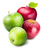 jogo das maçãs isoladas no fundo branco imagem de stock