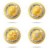 Jogo das melhores etiquetas douradas bem escolhidas. Fotos de Stock Royalty Free