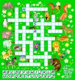 Jogo das palavras cruzadas com animais engraçados Página educacional para crianças para palavras do inglês do estudo Fotos de Stock Royalty Free