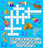 Jogo das palavras cruzadas com instrumentos musicais Página educacional para crianças para palavras do inglês do estudo Imagens de Stock