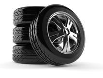 Jogo das rodas de carro ilustração stock