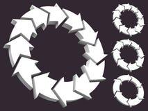 Jogo das setas circulares 3D Fotos de Stock Royalty Free
