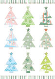 Jogo de árvores de Natal Fotos de Stock