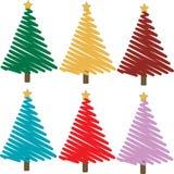 Jogo de árvores de Natal coloridas Fotografia de Stock Royalty Free