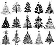 Jogo de árvores de Natal engraçadas. ilustração royalty free