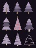 Jogo de árvores de Natal estilizados Abetos da coleção do vetor Fotografia de Stock