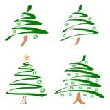 Jogo de árvores de Natal. Vetor Fotos de Stock Royalty Free
