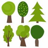 Jogo de árvores dos desenhos animados Ilustração do vetor Árvores verdes Imagens de Stock Royalty Free
