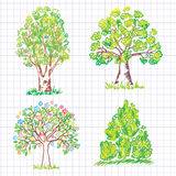Jogo de árvores verdes bonitas. Doodle. Fotografia de Stock Royalty Free