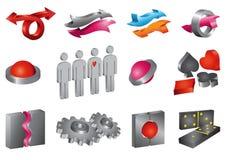 Jogo de ícones 3-D do vetor Imagens de Stock