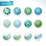 Jogo de ícones abstratos do globo Imagens de Stock