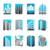 Jogo de ícones abstratos dos bens imobiliários Fotografia de Stock Royalty Free