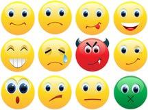 Jogo de ícones brilhantes dos sorrisos Imagens de Stock