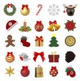 Jogo de ícones coloridos do Natal Coleção de etiquetas do feriado Fotos de Stock Royalty Free