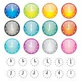 Jogo de ícones da esfera dos relógios Imagem de Stock