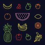 Jogo de ícones da fruta Ilustração do vetor fotografia de stock