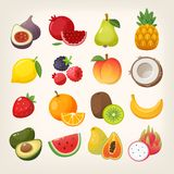 Jogo de ícones da fruta Imagens do vetor ilustração stock