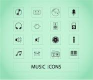 Jogo de ícones da música fotografia de stock royalty free