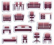 Jogo de ícones da mobília Fotografia de Stock