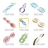 Jogo de ícones da molécula do ADN Fotos de Stock