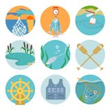 Jogo de ícones da pesca Imagens de Stock Royalty Free