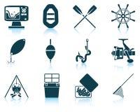 Jogo de ícones da pesca Foto de Stock