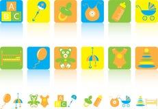 Jogo de ícones das crianças Fotos de Stock