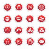 Jogo de ícones do alimento Fotos de Stock Royalty Free