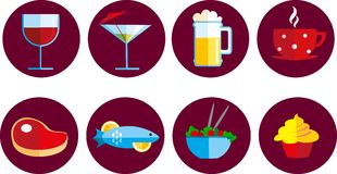 Jogo de ícones do alimento e da bebida Imagem de Stock Royalty Free