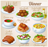 Jogo de ícones do alimento jantar ilustração royalty free