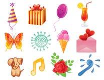 Jogo de ícones do aniversário ilustração royalty free