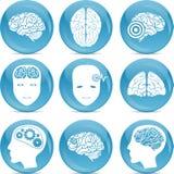 Jogo de ícones do cérebro Imagens de Stock